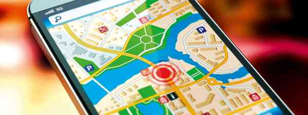 Map app on a smartphone (Dreamstime)