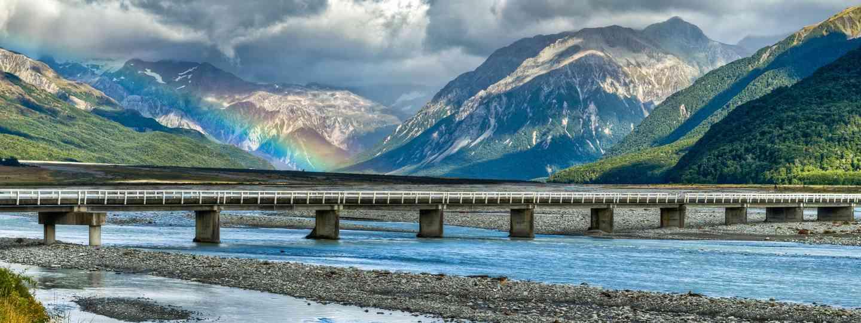 Rainbow over the Waimakariri River (Dreamstime)