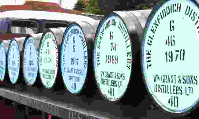 Barrels at the Glenfiddich distillery (Dreamstime)
