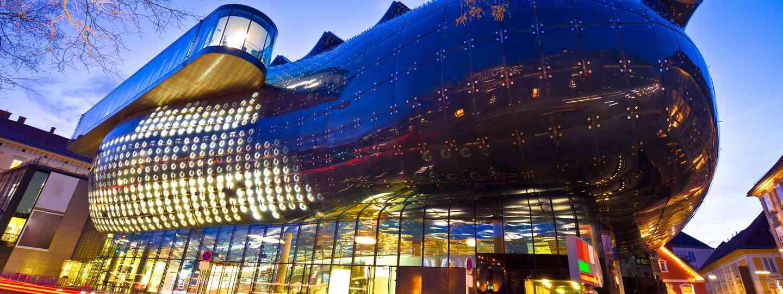 Kunsthaus Graz at night (Dreamstime)