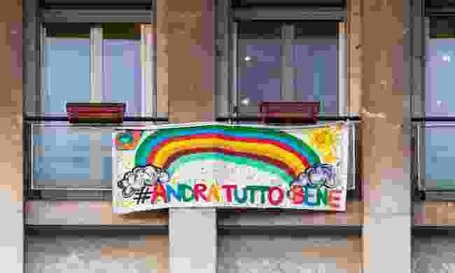 A rainbow brightens a balcony in Italy (Shutterstock)
