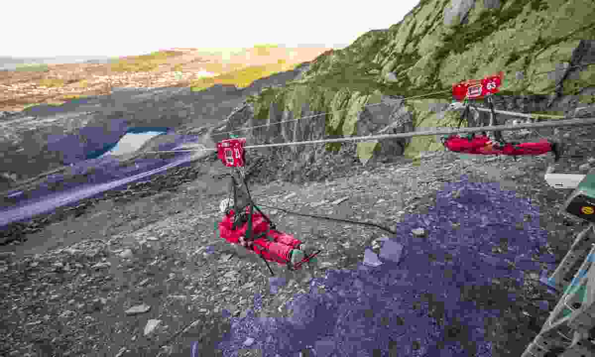 Velocity zip line, Wales (Zip World)