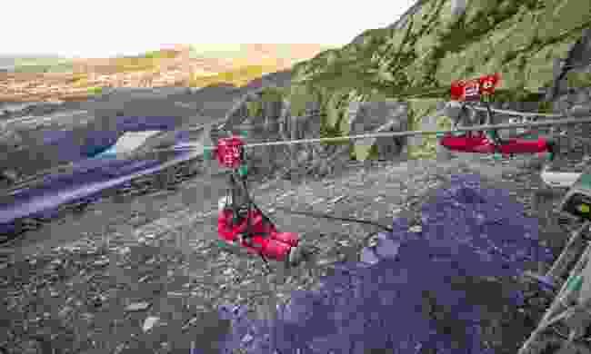Velocity zip line, Wales (Zip World)