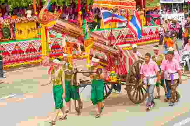 A rocket in a parade during Bung Ban Fai festival (Shutterstock)