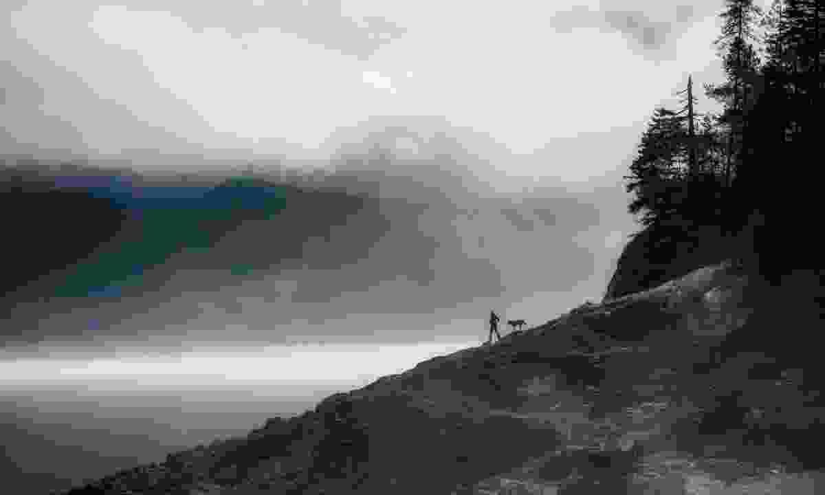 Hiking in the mist at Arrow Lake (Destination BC/Dave Heath)