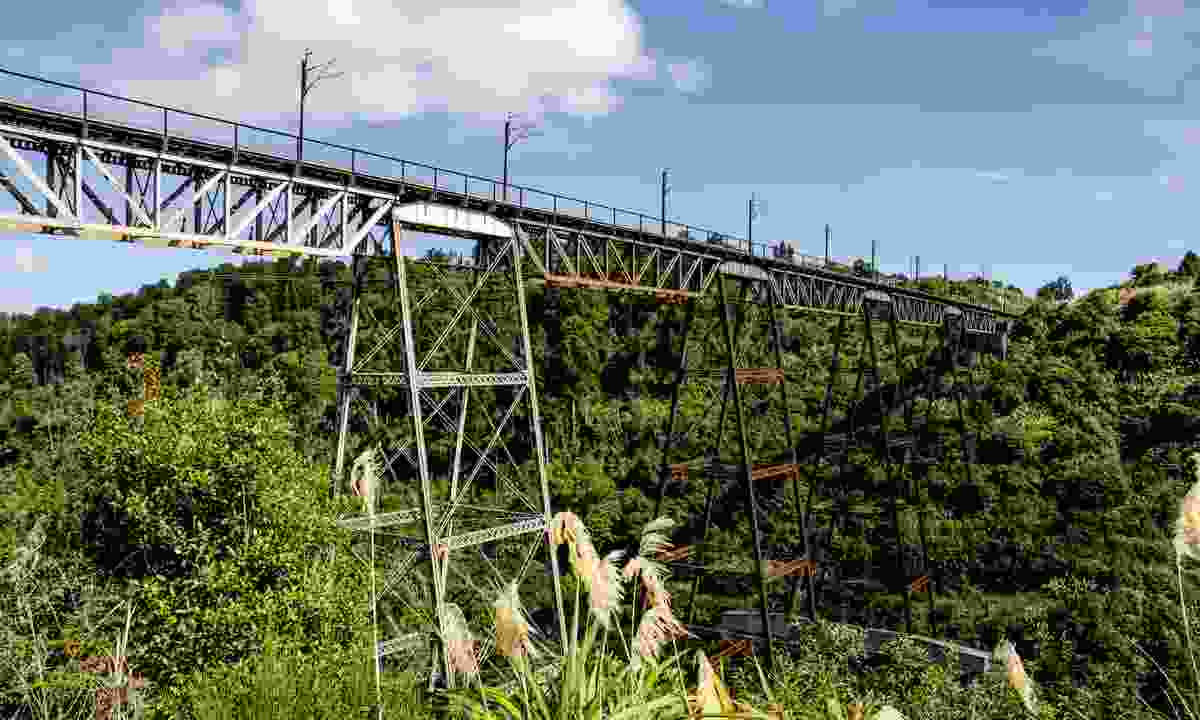 A railway viaduct on North Island's main trunk link (Dreamstime)