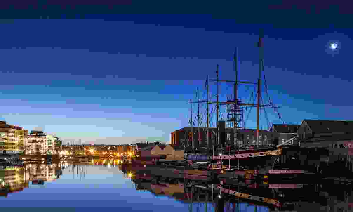 Brunel's historic SS Great Britain in Bristol by moonlight (Dreamstime)