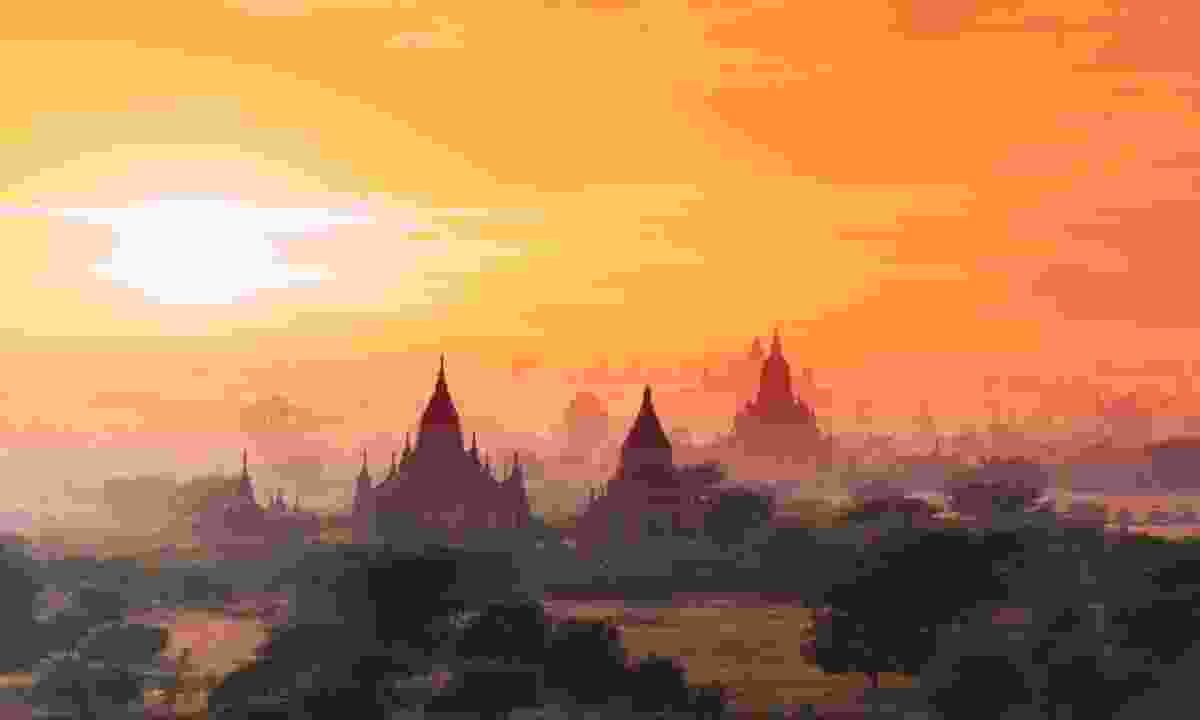 Sun setting over the ancient temples of Bagan (Dreamstime)