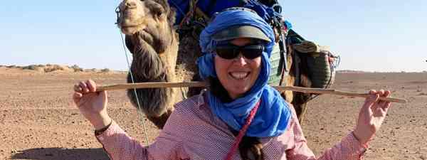 Alice setting off on a Saharan adventure (Alice Morrison)
