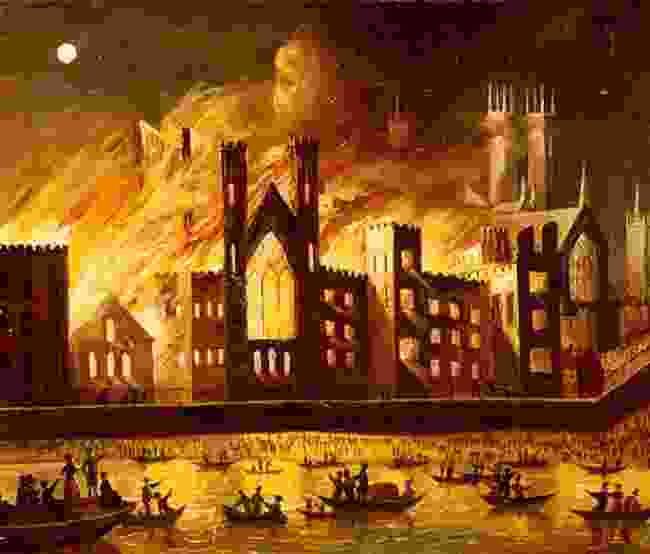 The Palace of Westminster on Fire, 1834 (parliament.uk)