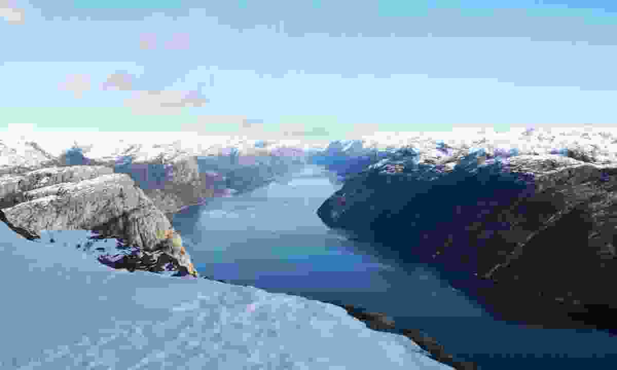 View over fjord from Preikestolen in winter (Dreamstime)