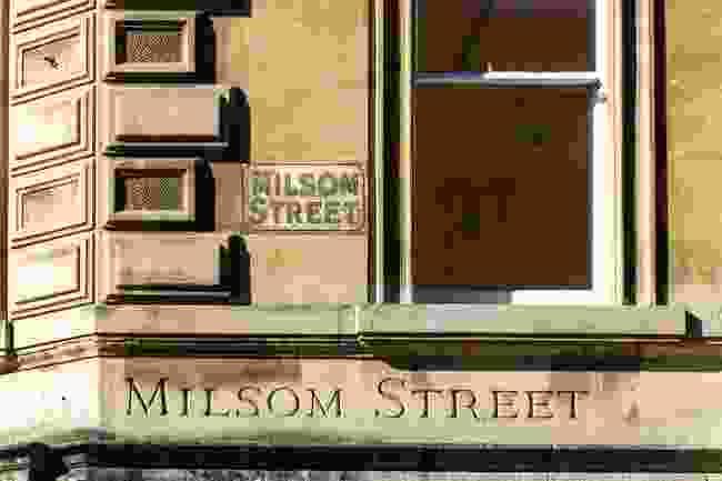 Milsom Street's two street signs, in Bath. The street was featured heavily in Jane's books (Shutterstock)