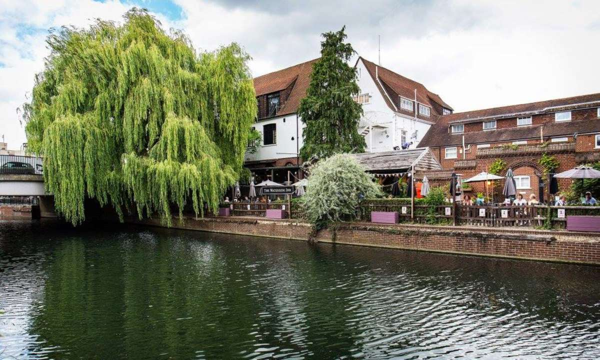 View of the beer garden from the River Lea (The Waterside Inn)