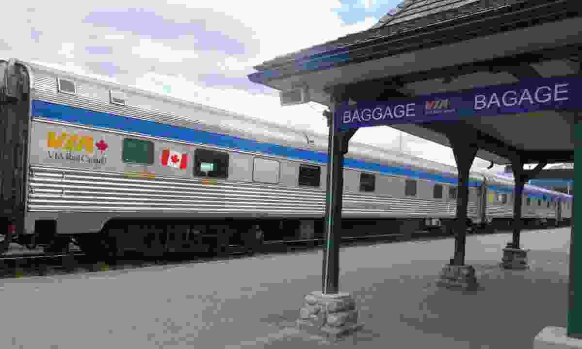 VIA Rail train stops off in Jasper, Alberta (Ellie Kinsella)