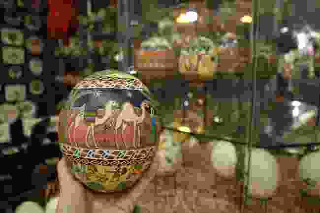 Ostrich eggs in the shop beneath King Abdullah Mosque in Amman, Jordan (Sarah Riches)