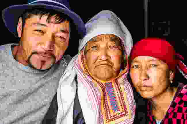 Three generations of a Kazakh herder family, in Gants Mod Valley (Marcus Westberg)