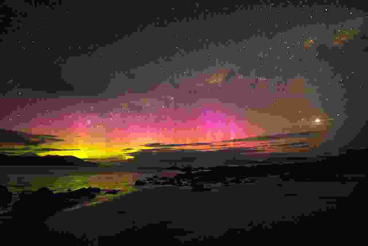 Aurora Australis over Cloudy Bay, Bruny Island, Australia (Shutterstock)