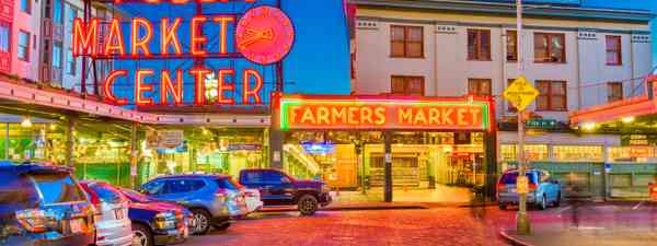Pike Place Market at night (Dreamstime)
