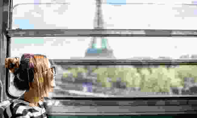 The Eiffel Tower through the train window (Dreamstime)