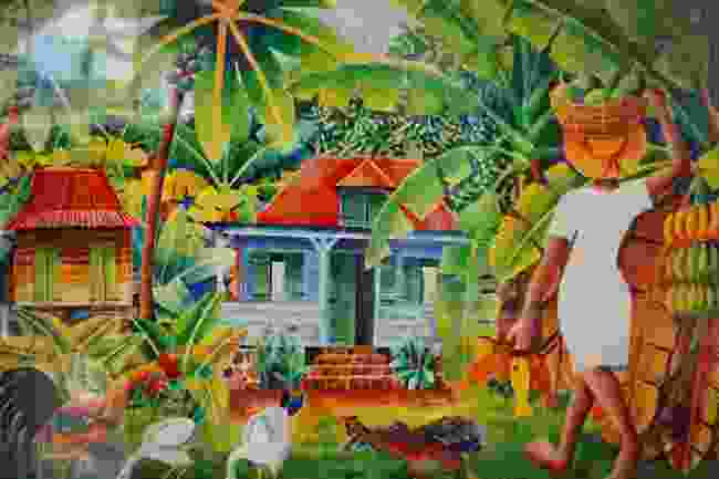 A painting of a typical Creole house on La Digue by George Camille (Peter Moore)