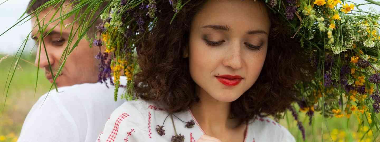 Girl wearing Mid Summer wreath (Dreamstime)