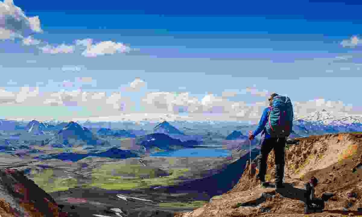 Hiker looking over the Laugavegur Trek (Shutterstock)
