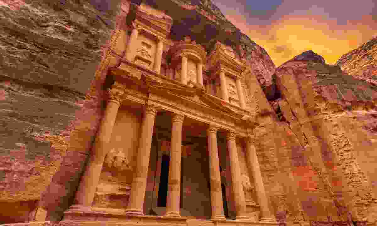 The magnificent Treasury at Petra under a fiery sky (Shutterstock)