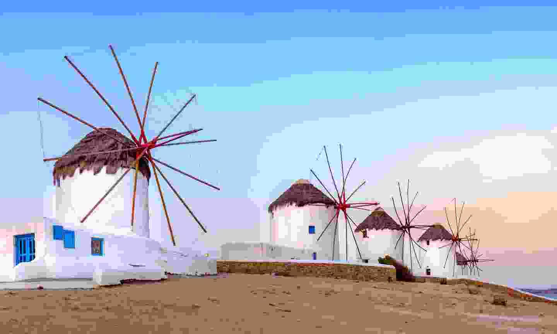 Greek windmills on Mykonos (Dreamstime)