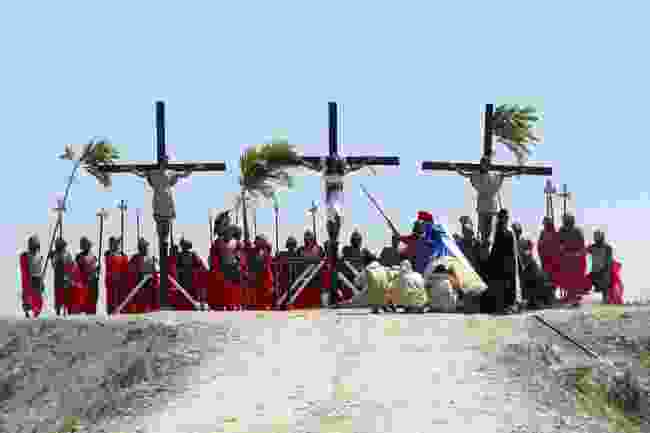 Locals nailed to a cross in Pampanga, Philippines (Tony Magdaraog/Shutterstock)