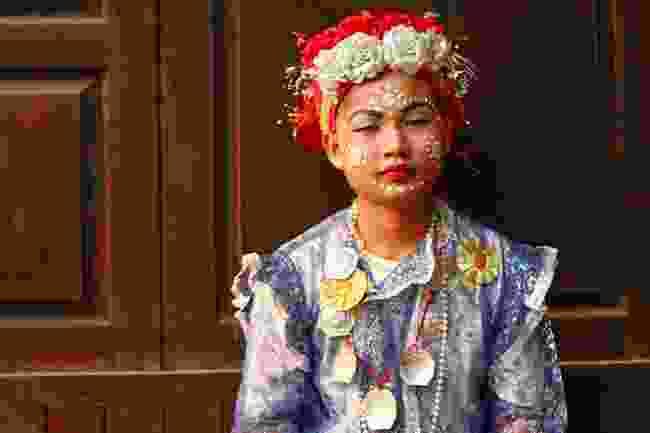 A boy wearing tanaka powder, Thailand (Shutterstock)