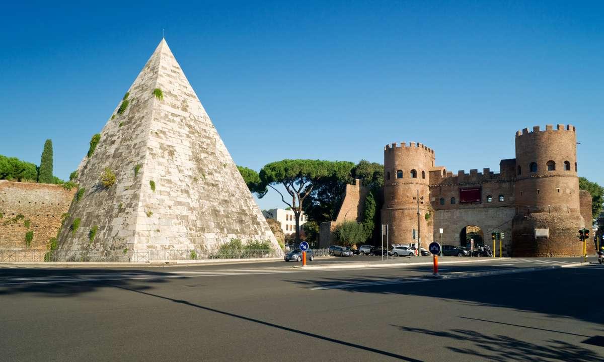 Pyramid of Cestius and Porta San Paolo, Rome (Dreamstime)