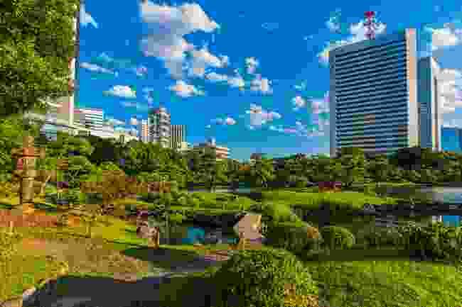 Visit Japanese garden Kyu Shiba Rikyu (Shutterstock)
