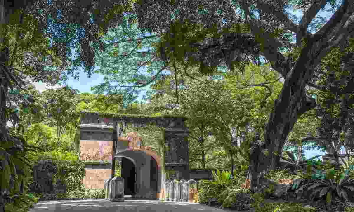 The gate at the historical Fort Canning park (Shutterstock)