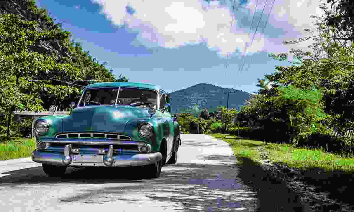 A classic car in the Sierra Maestra