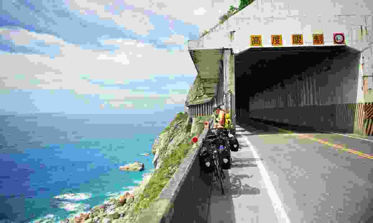 Grabbing a bit of sun before diving down one of the Suhua Highway's enormous tunnels (Mark Stratton)
