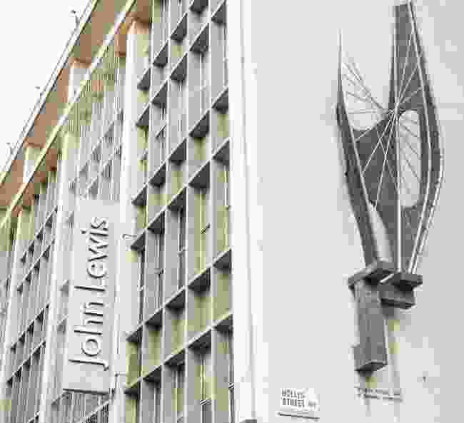 Barbara Hepworth's sculpture 'Winged Figure' on John Lewis building (Dreamstime)