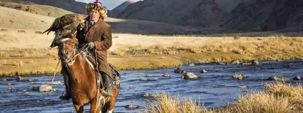 An eagle hunter and eagle in Mongolia (Dreamstime)