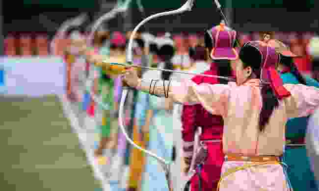 Archery contest during Naadam Festival (Shutterstock)