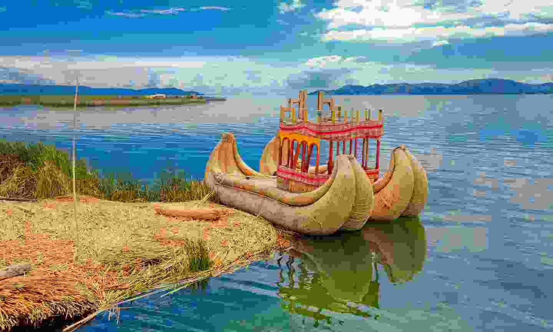 Totora boat on Lake Titicaca near Puno, Peru (Shutterstock)