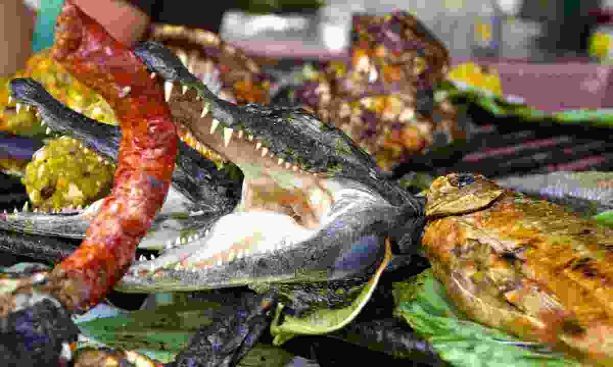 Crocodile head with sausage, Amazon market, Peru (Dreamstime)