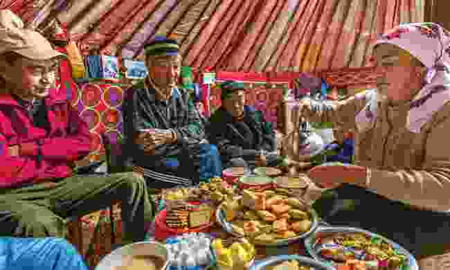 Driver Nurbat enjoys some traditional Kazakh hospitality (Marcus Westberg)