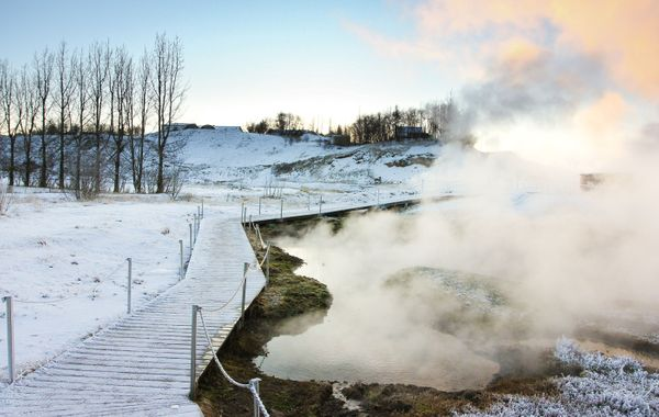 If you want an authentic experience at Iceland's oldest thermal bath, go to the Secret Lagoon, which is located east of Reykjavik and is much cheaper and less crowded than the Blue Lagoon.