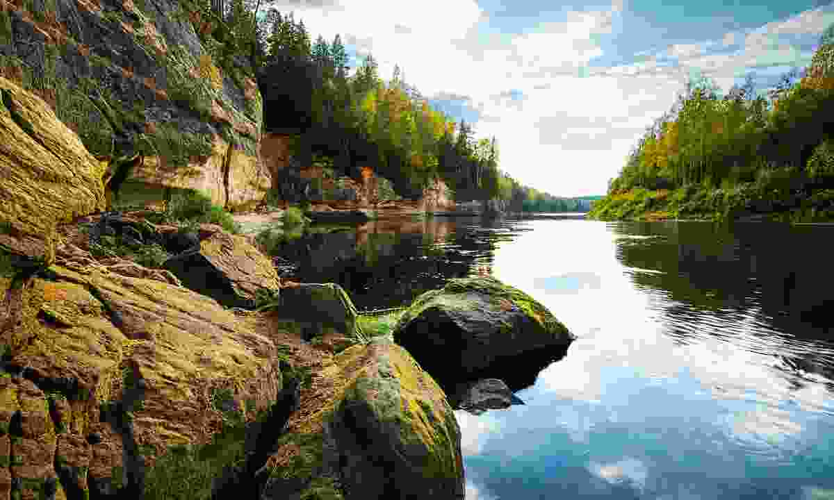 The Gauja River at Eagle Cliffs was allegedly named after its echo, said to resemble organ music (gauja means 'organ')