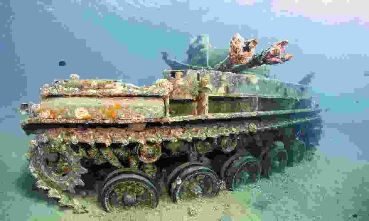 Sunken wreck of a tank in Aqaba (Dreamstime)