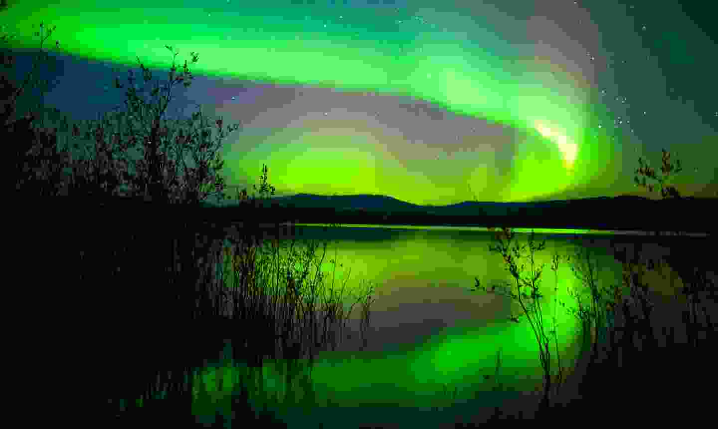 Northern lights reflected over a calm lake (Dreamstime)