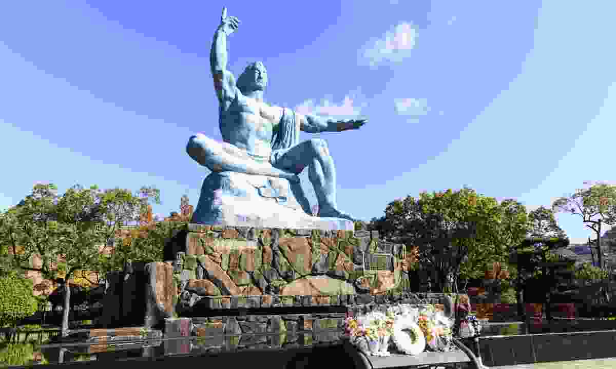 Nagasaki Peace Park is a park located in Nagasaki, Japan, commemorating the atomic bombing of the city on August 9, 1945 during World War II (Dreamstime)