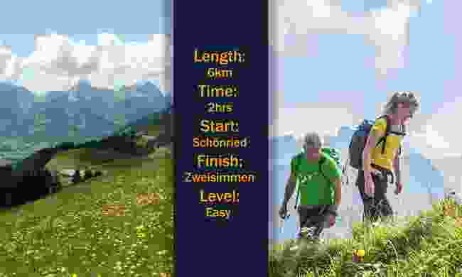 Length: 6km. Time: 2hrs. Start/Finish: Schönried/Zweisimmen. Level: Easy (Images: Destination Gstaad)