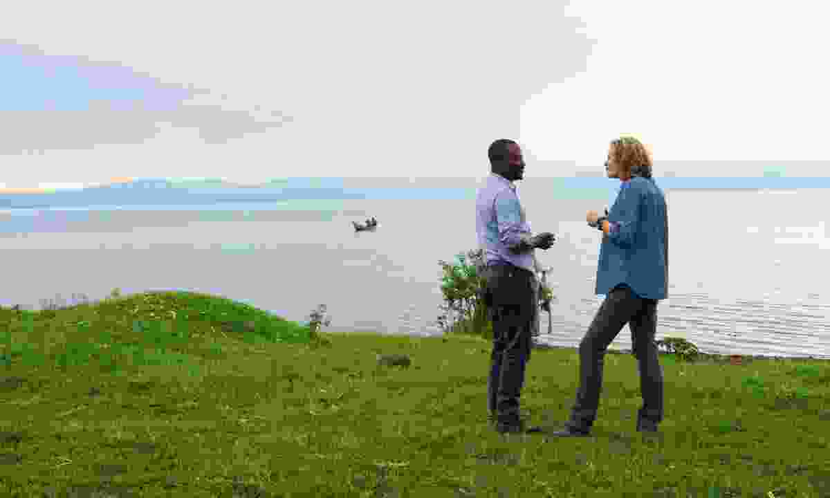 John and Kate on the shores of Lake Kivu (Jonny Bealby, Wild Frontiers)