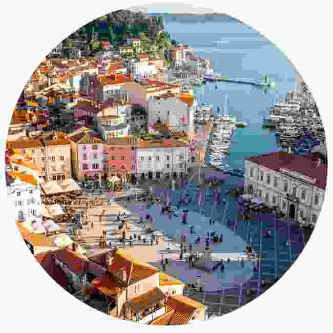 Piran's Tartini Square is right on the Adriatic coast (Shutterstock)