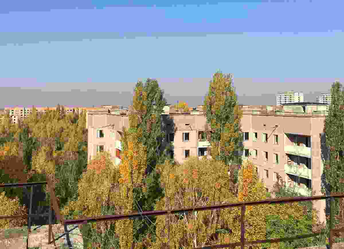 The view of abandoned Pripyat from the roof of an empty apartment block (Elizabeth Atkin)